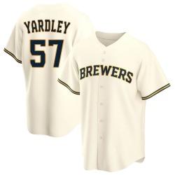 Eric Yardley Milwaukee Brewers Men's Replica Home Jersey - Cream