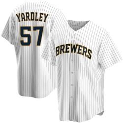 Eric Yardley Milwaukee Brewers Youth Replica Home Jersey - White