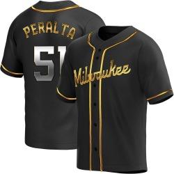 Freddy Peralta Milwaukee Brewers Men's Replica Alternate Jersey - Black Golden