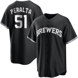 Freddy Peralta Milwaukee Brewers Youth Replica Black/ Jersey - White