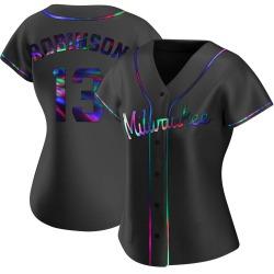 Glenn Robinson Milwaukee Brewers Women's Replica Alternate Jersey - Black Holographic
