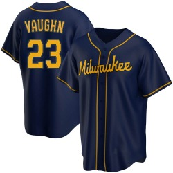 Greg Vaughn Milwaukee Brewers Men's Replica Alternate Jersey - Navy