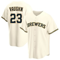 Greg Vaughn Milwaukee Brewers Men's Replica Home Jersey - Cream