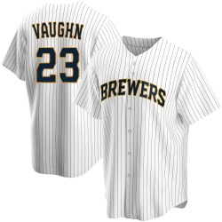Greg Vaughn Milwaukee Brewers Men's Replica Home Jersey - White