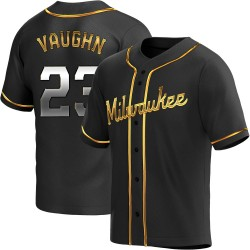 Greg Vaughn Milwaukee Brewers Youth Replica Alternate Jersey - Black Golden