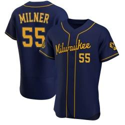 Hoby Milner Milwaukee Brewers Men's Authentic Alternate Jersey - Navy