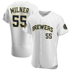 Hoby Milner Milwaukee Brewers Men's Authentic Alternate Jersey - White
