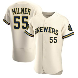 Hoby Milner Milwaukee Brewers Men's Authentic Home Jersey - Cream