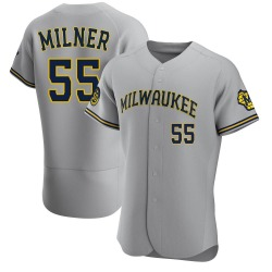 Hoby Milner Milwaukee Brewers Men's Authentic Road Jersey - Gray