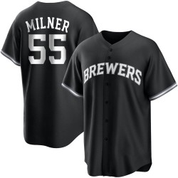 Hoby Milner Milwaukee Brewers Men's Replica Black/ Jersey - White