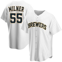 Hoby Milner Milwaukee Brewers Men's Replica Home Jersey - White