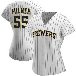 Hoby Milner Milwaukee Brewers Women's Replica /Navy Alternate Jersey - White