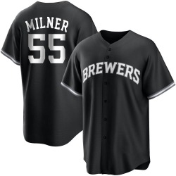 Hoby Milner Milwaukee Brewers Youth Replica Black/ Jersey - White