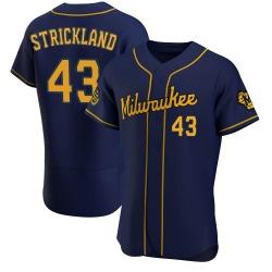 Hunter Strickland Milwaukee Brewers Men's Authentic Alternate Jersey - Navy