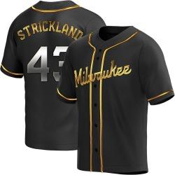 Hunter Strickland Milwaukee Brewers Men's Replica Alternate Jersey - Black Golden