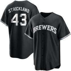 Hunter Strickland Milwaukee Brewers Men's Replica Black/ Jersey - White