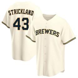 Hunter Strickland Milwaukee Brewers Men's Replica Home Jersey - Cream