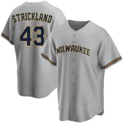 Hunter Strickland Milwaukee Brewers Men's Replica Road Jersey - Gray