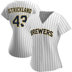 Hunter Strickland Milwaukee Brewers Women's Replica /Navy Alternate Jersey - White