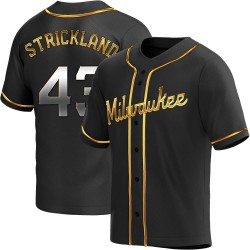 Hunter Strickland Milwaukee Brewers Youth Replica Alternate Jersey - Black Golden