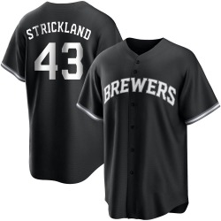 Hunter Strickland Milwaukee Brewers Youth Replica Black/ Jersey - White