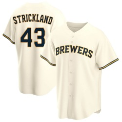 Hunter Strickland Milwaukee Brewers Youth Replica Home Jersey - Cream