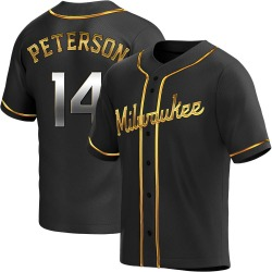 Jace Peterson Milwaukee Brewers Youth Replica Alternate Jersey - Black Golden