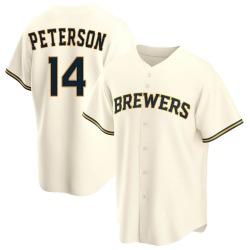 Jace Peterson Milwaukee Brewers Youth Replica Home Jersey - Cream
