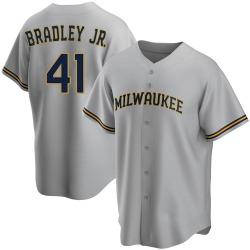 Jackie Bradley Jr. Milwaukee Brewers Men's Replica Road Jersey - Gray