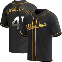 Jackie Bradley Jr. Milwaukee Brewers Youth Replica Alternate Jersey - Black Golden