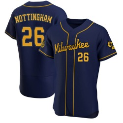 Jacob Nottingham Milwaukee Brewers Men's Authentic Alternate Jersey - Navy