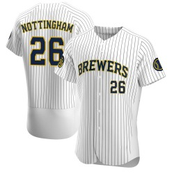 Jacob Nottingham Milwaukee Brewers Men's Authentic Alternate Jersey - White