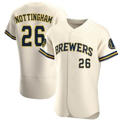 Jacob Nottingham Milwaukee Brewers Men's Authentic Home Jersey - Cream