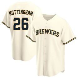 Jacob Nottingham Milwaukee Brewers Men's Replica Home Jersey - Cream