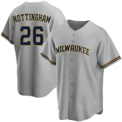 Jacob Nottingham Milwaukee Brewers Men's Replica Road Jersey - Gray