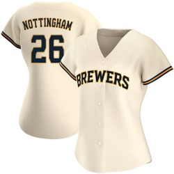Jacob Nottingham Milwaukee Brewers Women's Authentic Home Jersey - Cream