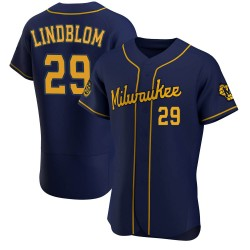 Josh Lindblom Milwaukee Brewers Men's Authentic Alternate Jersey - Navy