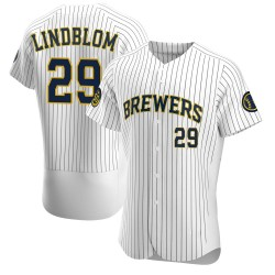 Josh Lindblom Milwaukee Brewers Men's Authentic Alternate Jersey - White