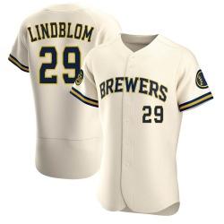Josh Lindblom Milwaukee Brewers Men's Authentic Home Jersey - Cream