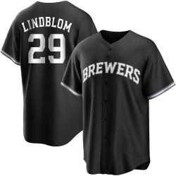 Josh Lindblom Milwaukee Brewers Men's Replica Black/ Jersey - White