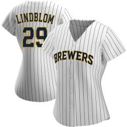 Josh Lindblom Milwaukee Brewers Women's Authentic /Navy Alternate Jersey - White