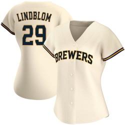 Josh Lindblom Milwaukee Brewers Women's Authentic Home Jersey - Cream