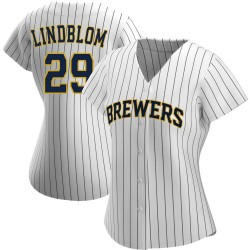 Josh Lindblom Milwaukee Brewers Women's Replica /Navy Alternate Jersey - White