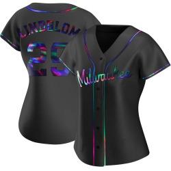 Josh Lindblom Milwaukee Brewers Women's Replica Alternate Jersey - Black Holographic