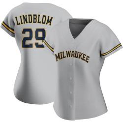 Josh Lindblom Milwaukee Brewers Women's Replica Road Jersey - Gray
