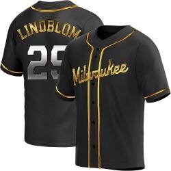 Josh Lindblom Milwaukee Brewers Youth Replica Alternate Jersey - Black Golden