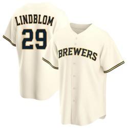 Josh Lindblom Milwaukee Brewers Youth Replica Home Jersey - Cream