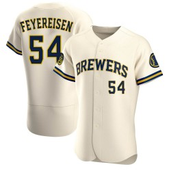 J.P. Feyereisen Milwaukee Brewers Men's Authentic Home Jersey - Cream