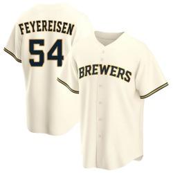 J.P. Feyereisen Milwaukee Brewers Men's Replica Home Jersey - Cream