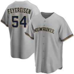 J.P. Feyereisen Milwaukee Brewers Men's Replica Road Jersey - Gray